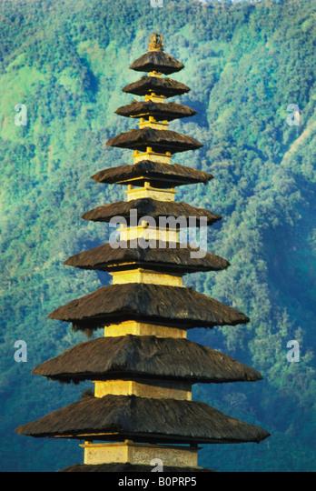 Ulu Danu Temple on Lake Bratan in Bali Indonesia - Stock Image