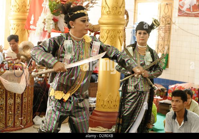 Yangon U Win Hlaing, a famous nat-kadaw (medium), Festival of Ko Myo Shin, Pyin U Lwin (Maymyo), Mandalay Division, - Stock Image