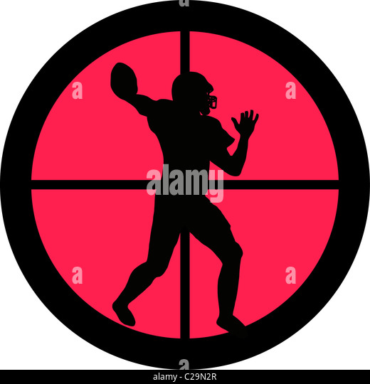 In the scope series – American Football in the crosshair of a gun's telescope - Stock Image