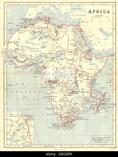 AFRICA: Congo Free State Darfur Kurdufan Barca Mountains of Kong.BUTLER 1888 map - Stock-Bilder