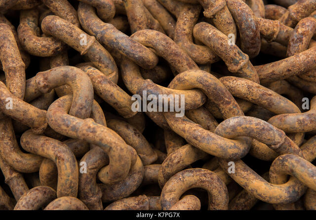 Close Up of Rusty Chain Links Background Image - Stock Image