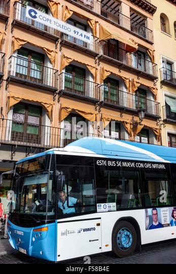 Spain Europe Spanish Toledo historic center Plaza Zocodover public bus - Stock Image