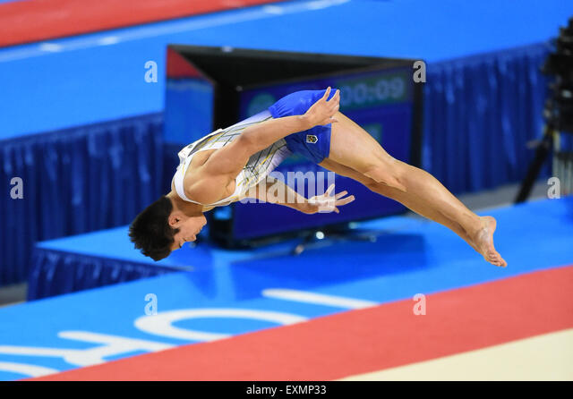 Toronto, Ontario, Canada. 14th July, 2015. ARTHUR MARIANO of Brazil, on the Men's Floor during the Toronto Pan - Stock-Bilder