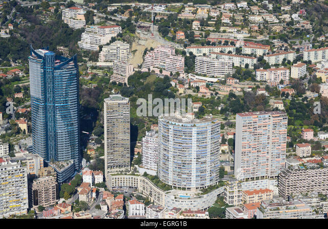 ODEON TOWER (aerial view). Ward of la Rousse Saint Roman in the Principality of Monaco. - Stock Image