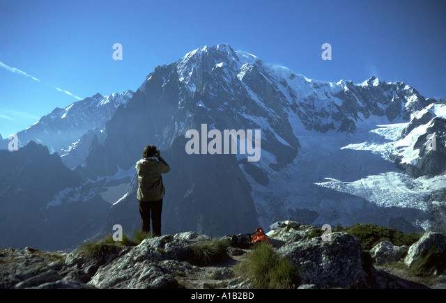 Mont Blanc (Monte Bianco) and the Brenva Glacier over Val Véni. From Mont Chétif, Italy - Stock Image
