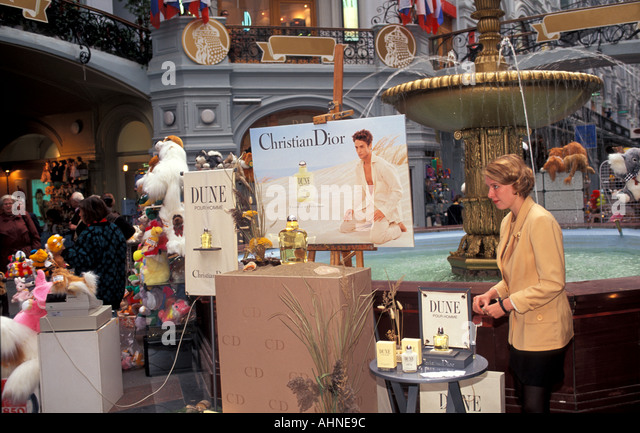 Moscow Russia GUM Department Store Christian Dior Sales Display - Stock Image