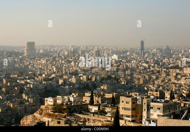 Skyline of Amman, Amman, Jordan. - Stock Image