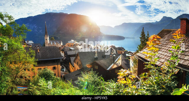 Scenic panoramic view of the famous mountain village in the Aust - Stock Image