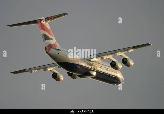 British Airways British Aerospace Avro RJ 100 146 RJ100 at London City Airport - Stock Image