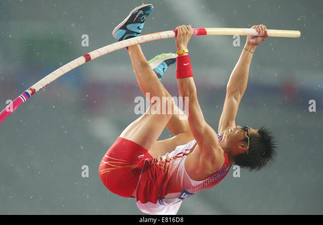 Incheon, South Korea. 28th Sep, 2014. Daichi Sawano (JPN) Athletics : Men's Pole Vault Final at Incheon Asiad - Stock-Bilder