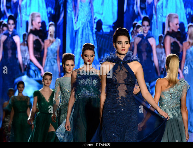 Prague, Czech Republic . 13th Feb, 2014. A model walks the runway during a dress rehearsal for the Blanka Matragi's - Stock-Bilder
