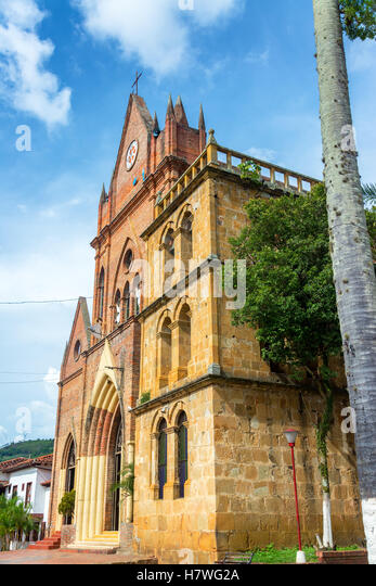 Church in the small town of Valle de San Jose in Santander, Colombia - Stock Image
