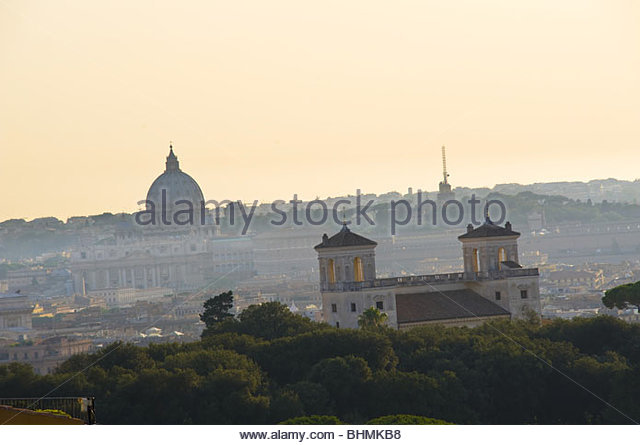 Panoramic view of Rome, Italy at dusk - Stock Image