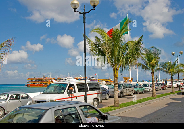 Cozumel Mexico San Miguel town Malecon heavy traffic - Stock Image