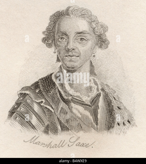 Hermann Maurice Saxe Count of Saxe 1696 to 1750 Marshall of France From the book Crabbs Historical Dictionary published - Stock Image