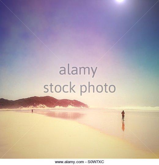 Beach, Kenton On Sea, South Africa(sun flare & colour effects added) - Stock Image