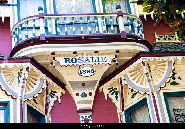 Arkansas Eureka Springs Rosalie Bed and Breakfast Inn built 1883 Victorian style architecture design balcony - Stock Image