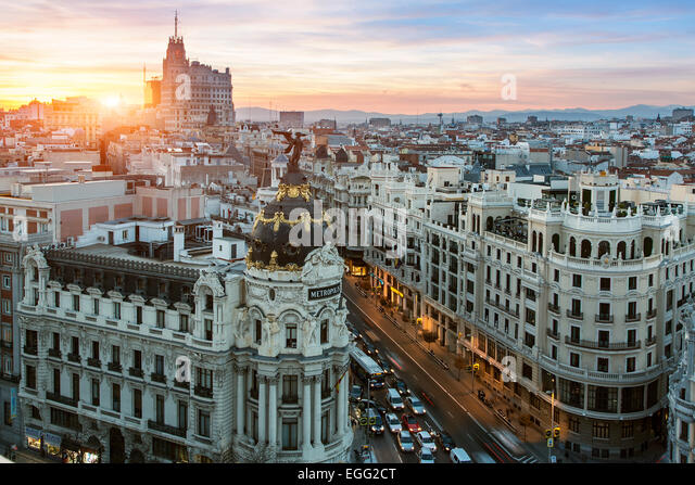 Skyline of Madrid with Metropolis Building and Gran Via - Stock Image