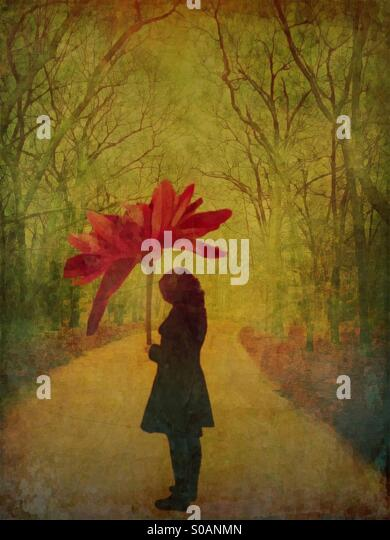 Woman with Flower Umbrella - Stock Image