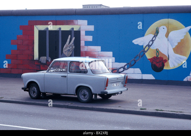 20th Century Berlin Berlin Wall Cities City Cold War Color Colored Colorful Colors Colour Coloured Colourf - Stock Image