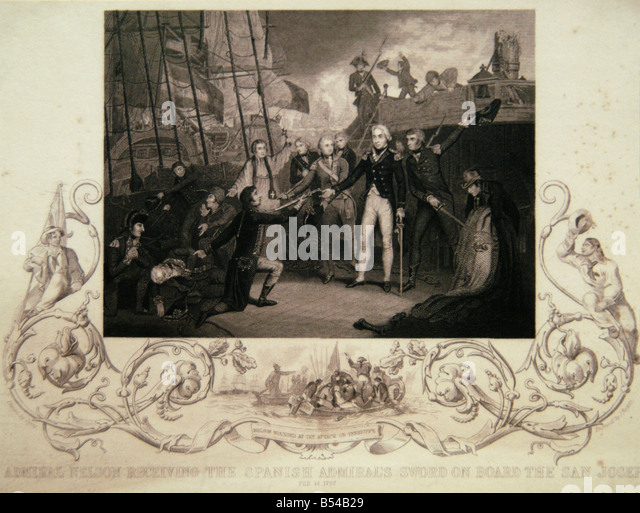 Engraved print: Admiral Nelson Receiving the Spanish Admiral's Sword on Board the San Josef, 14 Feb 1797 - Stock Image