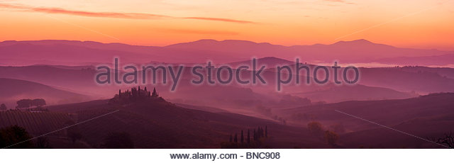 Podere Belvedere, near San Quirico D'Orcia, Tuscany, Italy. - Stock Image