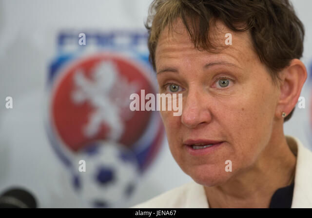 Deputy of the UEFA Eva Pasquier attends the press conference within the Football Association of the Czech Republic - Stock-Bilder