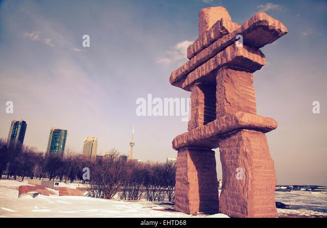 toronto inukshuk park - Stock Image