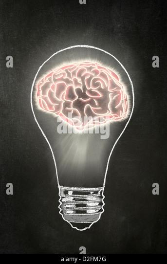 Idea - Light bulb with a human brain inside it on a blackboard - Stock Image