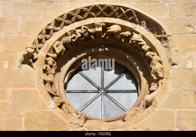 Oculus round window church Laguardia Basque Country Spain - Stock Image