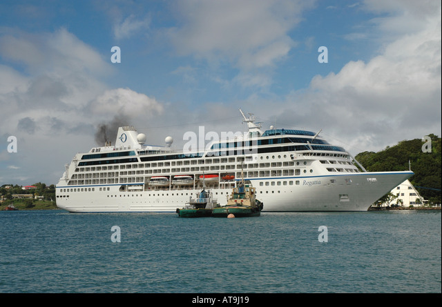 Cruise Ship Oceania Regatta Castries St Lucia - Stock Image