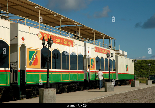 St Kitts Caribbean West Indies Sugar Train Scenic Railway cars and engine - Stock Image