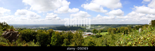 View eastwards from rochers de Montjoie, Hill 314, Mortain, Normandy, France - Stock Image