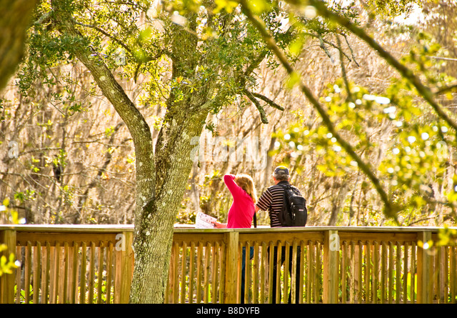 Florida Everglades couple on boardwalk at H P Williams Roadside Park Big Cypress National Preserve Florida - Stock Image