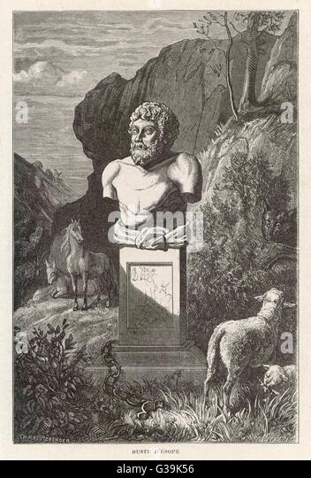 AESOP  Greek writer of fables as depicted by an antique bust  at the Villa Albani, Rome      Date: 620 - 560 BC - Stock Image