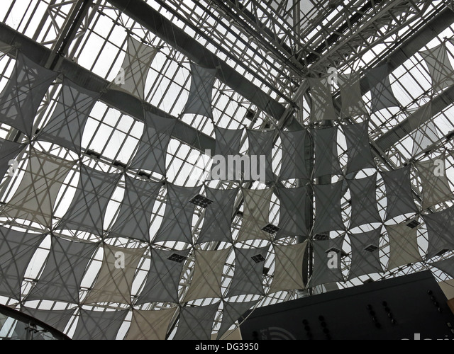 Eco roof inside St Enoch Shopping retail shopping centre Glasgow - Stock Image