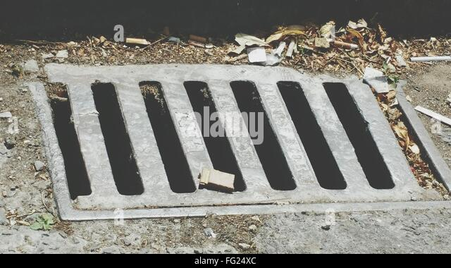 High Angle View Of Sewage - Stock Image