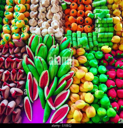 Marzipan in street stall in Mexico City - Stock Image