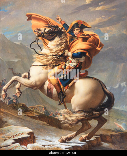 Painting of Napoleon at the Saint-Bernard Pass (1801) by Jacques-Louis David (1748-1825) in Rueil-Malmaison, France - Stock Image