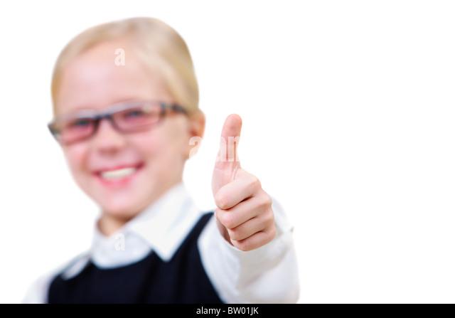 Image of childish hand showing thumb up - Stock Image
