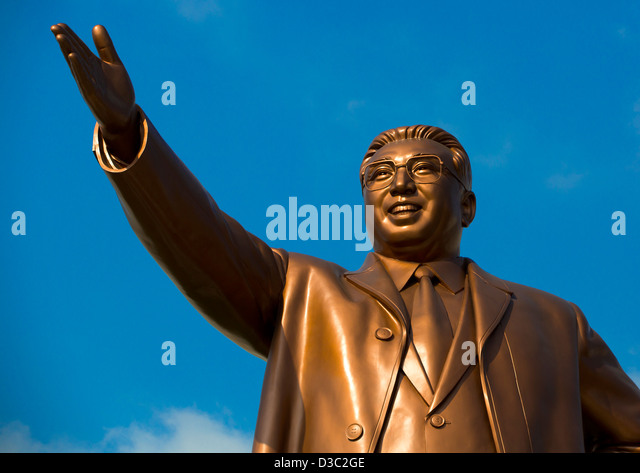 Kim Jong Il Statue In Grand Monument Of Mansu Hill, Pyongyang, North Korea - Stock Image