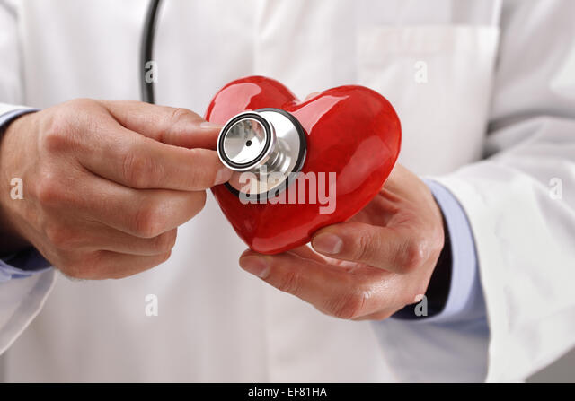 Doctor holding heart - Stock Image