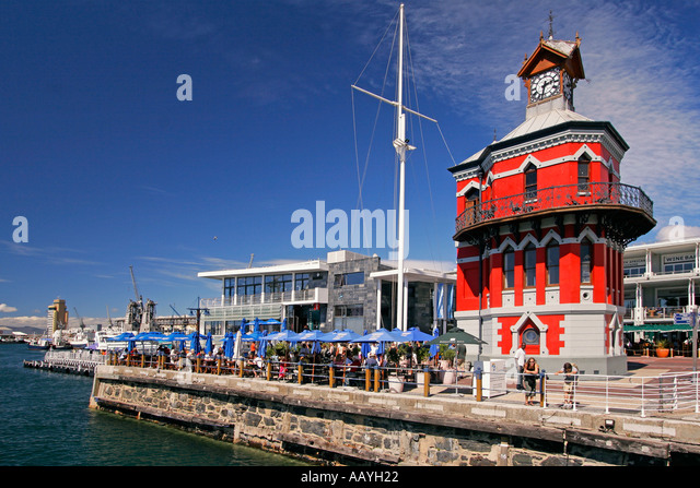 south africa cape town Victoria Albert waterfront clock tower - Stock Image