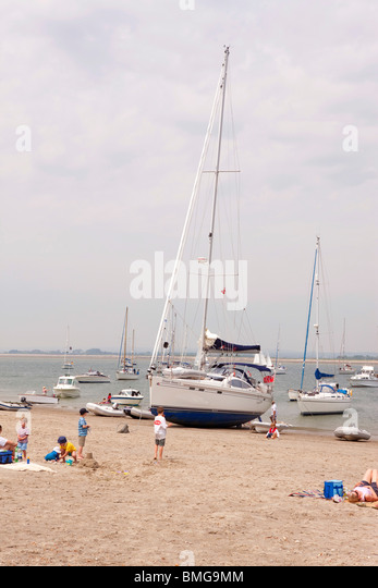 Southerley 49 sailing yacht beached at East Head, Chichester Harbour, UK - Stock Image