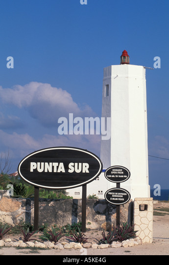 Mexico Isla Mujeres Punta Sur south point  lighthouse open space copy space text space type space - Stock Image