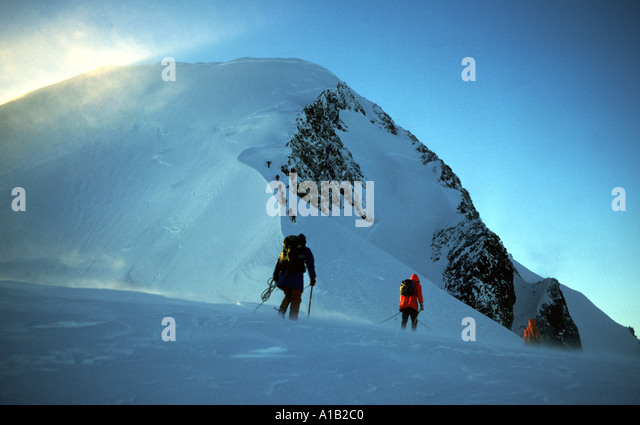 Approaching the summit of Mont Blanc in the French Alps, France - Stock Image