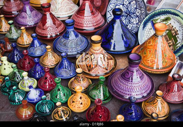 Morocco, Marrakech, Market. Tajine pottery for sale. - Stock Image