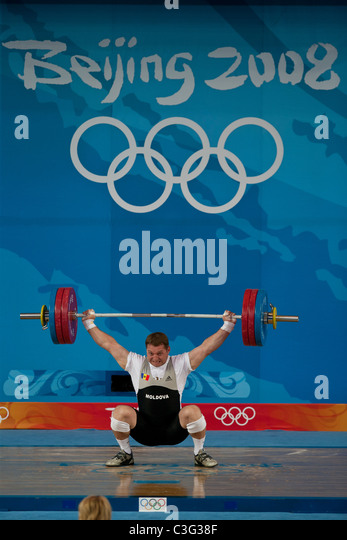 Vadim Vacarciuc (MDA) competing in the Weightlifting 94kg class at the 2008 Olympic Summer Games, Beijing, China. - Stock Image