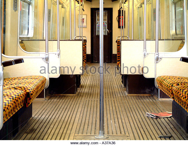 Empty London tube carriage - Stock Image