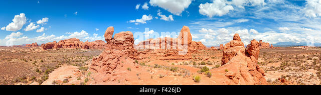 Panorama of the Arches National Park, Utah, USA. - Stock Image